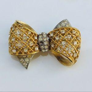 Gold bow ribbon brooch Nordstrom crystals